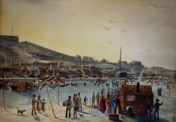 Domaine public Le pont de glace de Québec dessiné par James Pattison Cockburn, vers 1830.
