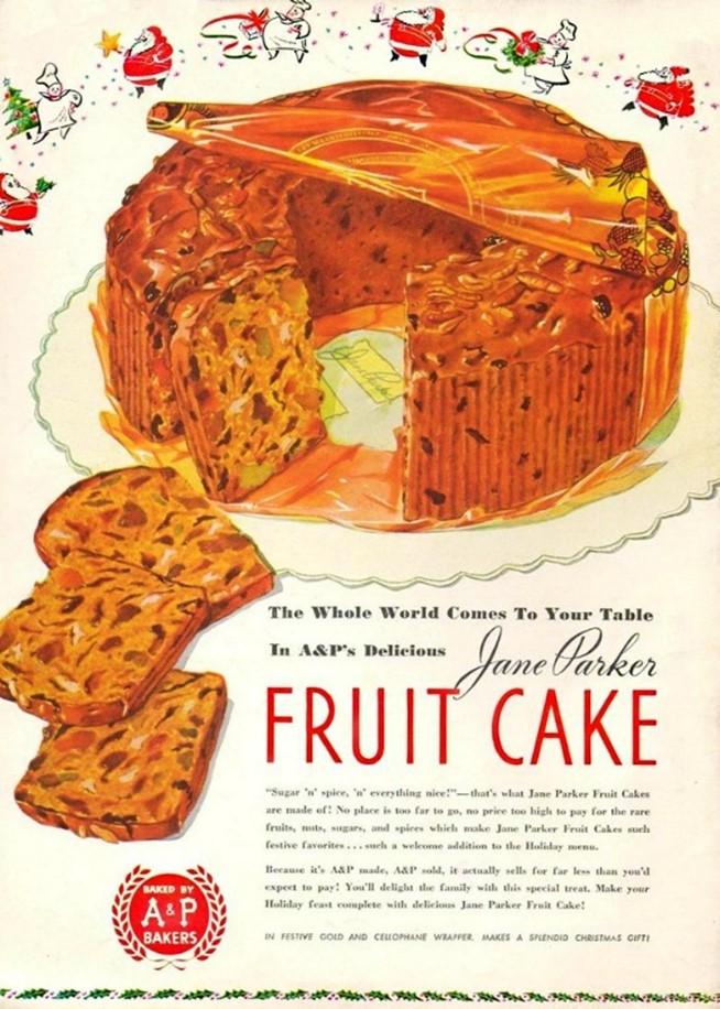 Une publicité du fruit cake des années 1950