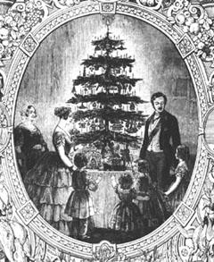 La famille royale auprès de l'arbre de Noël, publié dans llustrated London News en 1848.